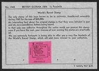 British Guiana 1856 1c magenta facsimile on dealer's sale sheet ex Jim Czyl