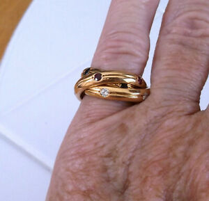 CARTIER TRINITY 18K YELLOW GOLD GEMSTONE DIAMOND ROLLING RING  SIZE 4.50