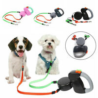Double Dog Leash Lead 360°No Tangle Retractable Pet Leash for 2 Dogs Up to 50lbs
