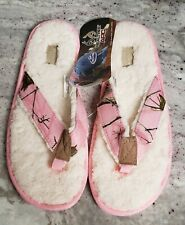 Womens 9/10 Realtree Northern Trail Camo Pink Fleece Lined Slippers Flip Flops