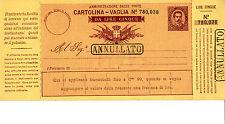 REGNO - CARTOLINA VAGLIA 10c 5 LIRE 1890 - Varietà A piccola - Nuova