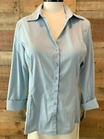 New~$48~PRESWICK & MOORE WOMAN 1X Plus Blue 3/4-Sleeve Stretch-Cotton Top Shirt
