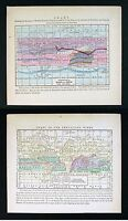 1857 Morse Maps x 2 - World Snow Rain & Prevailing Winds Hurricane Storm Climate