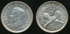 New Zealand, 1942 Threepence, 3d, George VI (Silver) - Uncirculated