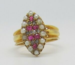 Magnificent Victorian 18ct Gold Ruby Diamond and Pearl Marquise Ring - 1871