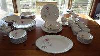 Vintage Dinnerware Set Red Rose White Swirl Platinum Trim Service 8 +Hostess 51p