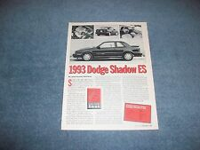 1993 Dodge Shadow ES Vintage New Car Info Article