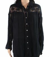 Ganni Women's Shirt Black Size Large L Button Down Crochet Textured $145- #176