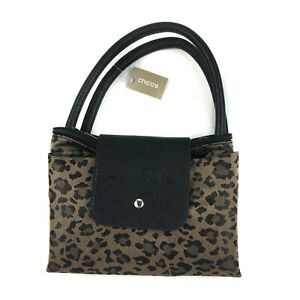 Chico's Leo Roll Small Mini Tote Leopard Travel Compact Handbag Fold Up Packable