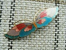 """Vintage Unusual 3"""" wide Cloisonne Enamel Butterfly Brooch Pin 1980's blue & pink"""