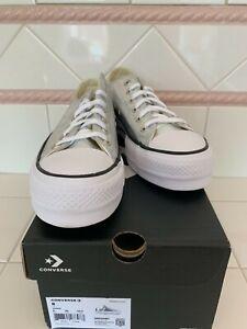 Converse tie metallic silvercanvas platform sneaker tennis shoe women size 8
