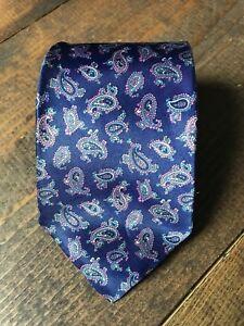 Van Heusen Men's Necktie-Tie-Fashion Accessory-Navy Blue Pink-Paisley-Silk Blend