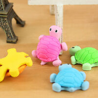 2x Kids Creative Animal Turtle Tortoise Cartoon Rubber Pencil Eraser