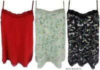 New M&S Ladies Lace Trim Strappy Plain or Floral Cami/Camisole/Vest/Nightie Top