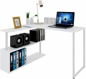 L-Shaped Corner Desk Computer Office Desk Wood  with Shelves