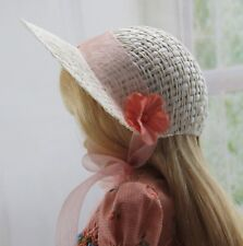 """Ivory Straw Doll Bonnet Hat 7"""" Head Decorate Your Own Fits 10"""" BONEKA"""