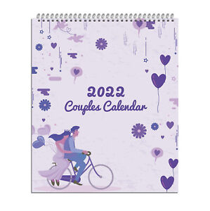 2022 Couples Calendar Monthly Planner Organiser,One Month to View Slogan Art