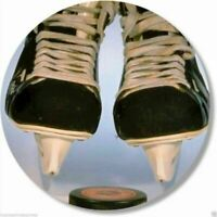 Ice Hockey Skates and Puck Round Mouse Pad