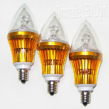 3X Dimmable Warm White Candelabra E12 9W Led Chandelier Candle Light Bulb Usa