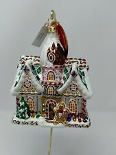"Christopher Radko Sweet Invitation Gingerbread House 6"" Glass Ornament 1019426"