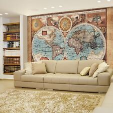 Wall26® - Antique Illustrated Map of the World - Wall Mural- 100x144 inches