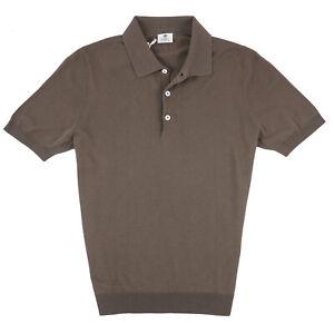 Borrelli Napoli Olive Brown Knit Extrafine Cotton Polo Shirt M (Eu 50) NWT $450