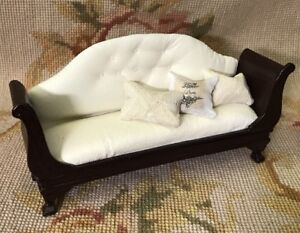 Bespaq/Pat Tyler Dollhouse Miniature Leather Sofa Seat Couch Lounge Settee 917
