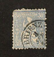 Switzerland stamp #56a, used, 30c blue, 1862-1864, SCV $225