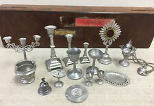 Collection of Metal Vintage Miniature Altar Items With Vintage Wooden Box c1930