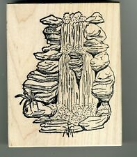 Stampa Rosa - Rubber Stamp on Wood - Waterfall - 2854