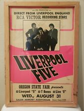 VTG 1960'S British Invasion Band Liverpool Five Signed Poster RCA Victor Pop Art