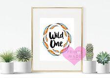 Wild one boho tribal feather print home decor