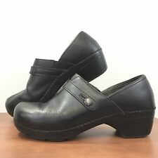 DANSKO Solstice Black Leather Button Strap Slip on Clog Shoes Womens 42 /11.5-12