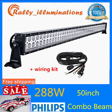 """50""""inch 288W LED Work Light Bar Combo Offroad Driving Windshield Lamp+Wiring Kit"""