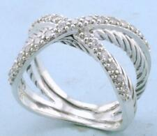 DAVID YURMAN STERLING DIAMOND CROSSOVER RING size 6
