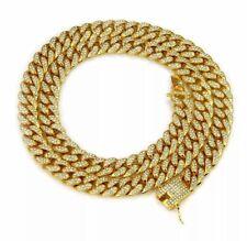 "18K Iced Out Cuban Chain (20"" GOLD)Diamond Dog Chain"