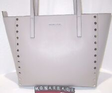 Michael Kors Cement Leather Stud Silver Studded  Large Tote Tech Friendly   $328