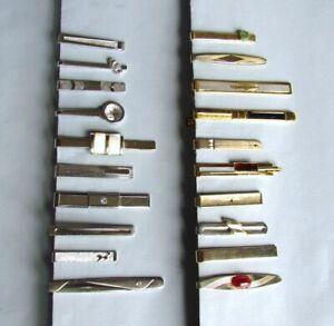 Lot of 20 Vintage Gold / Silver Art Deco Tie Clasps * Swank * Anson * More *Nice