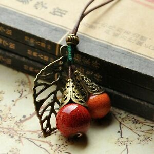 Long Leather Rope Chain Ceramic Ball Pendant Vintage Sweater Fruit Necklace