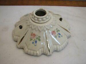 Ornate Vinate Flush Mount Ceiling Light Fixture Victorian Porcelain Rose Floral