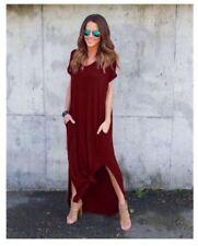 #A1375 Pocket Side Split Maxi Dress (MAROON)