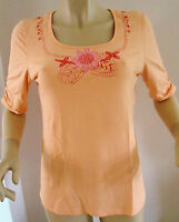 NEW LADIES KNC (KIM & CO/QVC) 3/4 LENGTH SLEEVED SOFT APRICOT TOP SIZE M