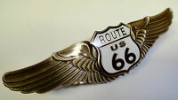U.S. ROUTE 66 BRONZE HIGHWAY PILOT WINGS HARD FIRED ENAMEL