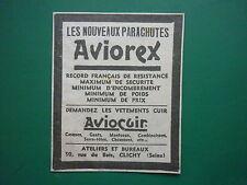 2/34 PUB PARACHUTE SOIE ALOZ AVIOCUIR VETEMENT CUIR CASQUE GANT PILOTE CLICHY AD