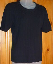 SAG HARBOR Espresso Acrylic KNIT TOP Rib Knit Cable Neck 2-PLY SWEATER S/S PM
