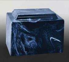 Navy Blue/White Cultured Marble Cremation Urn - perfect for ground burial