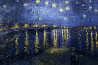 Dream-art hand paint Oil painting impressionism view Starry Night Over the Rhone