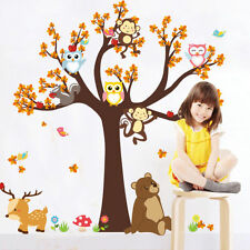 Owls Monkey Tree Wall Sticker Jungle Safari Animal Kids Decal Baby Nursery Decor