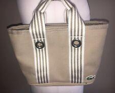 Lacoste Cream Canvas Grab Shoulder bag Holiday Summer Vintage Hobo VGC Grab Boho