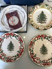 """Set Of 4 SPODE  Christmas Tree Plates 1980/2001/ 2007  New Collector Plates 8"""""""
